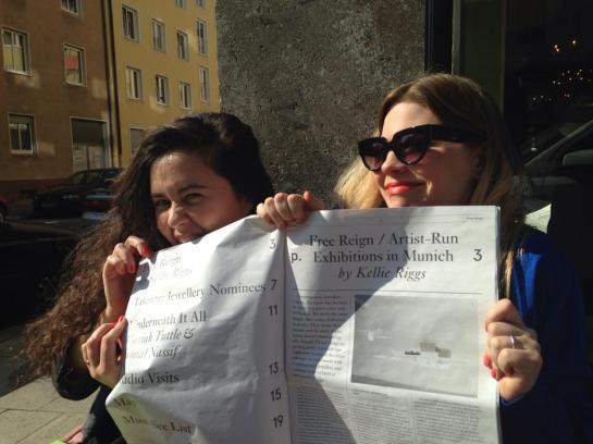 Marina and myself holding 2014's paper for Munich Jewelry Week